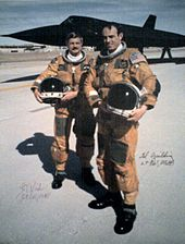 "The ""Last Flight"" of a SR-71. In background SR-71 S/N 61-7972. Foreground Pilot Lt. Col. Raymond ""Ed"" E. Yielding and RSO Col. Joseph ""Jt"" T. Vida, 6 March 1990."
